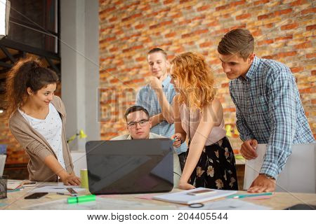 Hipster teamwork discuss at the meeting, . Start up Concept. Brainstorming in modern office.