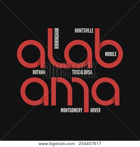 Alabama state. T-shirt and apparel vector design, print, typography, poster emblem