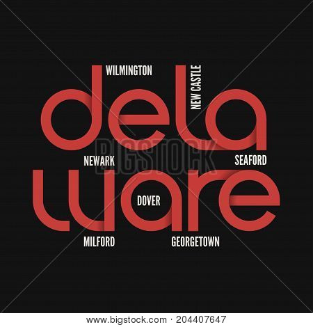 Delaware state. T-shirt and apparel vector design, print, typography, poster emblem