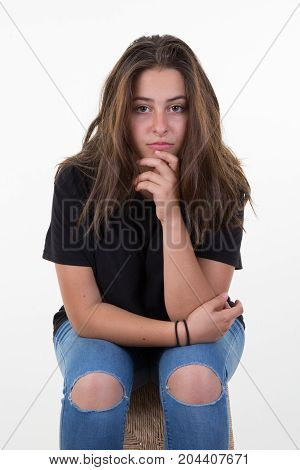 Serious Sad Woman Thinking Over A Problem A Depression And Anxiety Disorder Concept