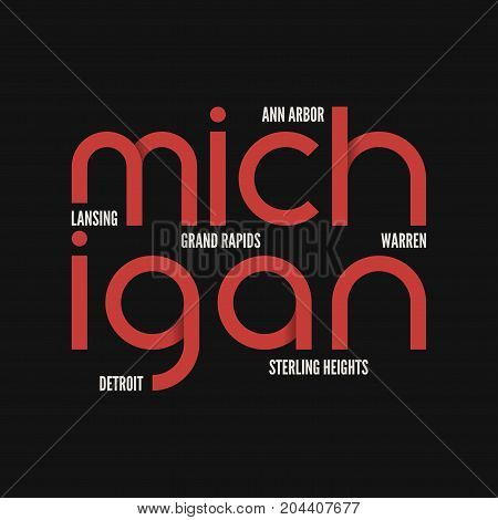 Michigan state. T-shirt and apparel vector design, print, typography, poster emblem