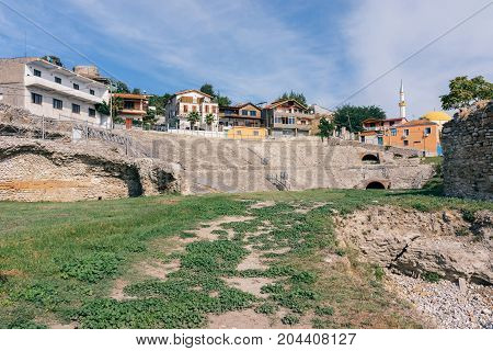 Ruins of Durres Amphitheatre. The ruins of the amphitheater is located in the city