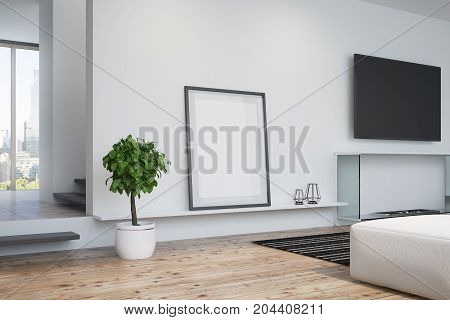 White Living Room, Tv And Poster, Side