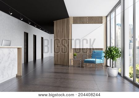 Marble And Wooden Elevator Hall, Poster Blue