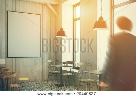 White wooden bar with a diamond floor pattern white bar stand with a row of black stools wooden tables and chairs. A poster a man side view 3d rendering mock up toned image double exposure