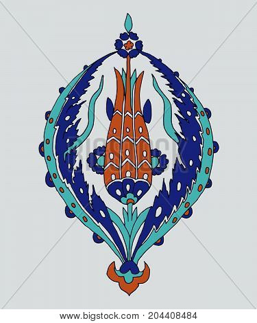 Iznik ethnic motif. Traditional Turkish floral blue ornament with tulip. Element for your design.