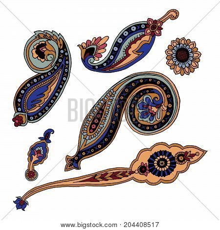 Vector set of colorful paisley elements. Russian, Indian, Persian traditional motives on white background. For your design.