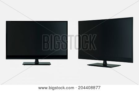 modern LCD flat screen TV in two positions on a white background