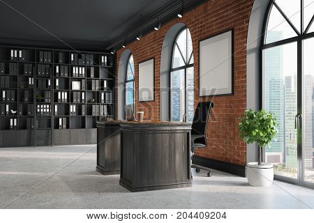 Ceo Office, Bookcase And Table, Corner