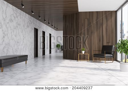 Marble And Wooden Elevator Hall, Armchair