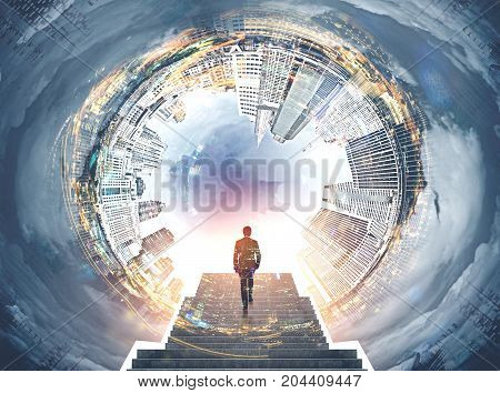 Fisheye cityscape with a cloudy sky in the center. Bright sun is shining. Businessman ascending the stairs. Toned image mock up