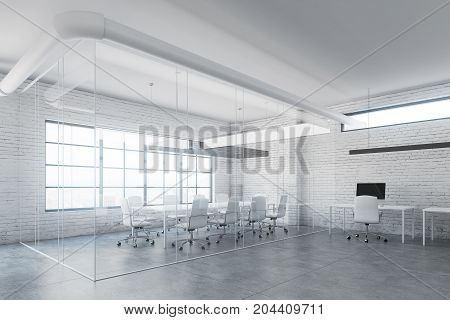 Glass Meeting Room Interior, Side View