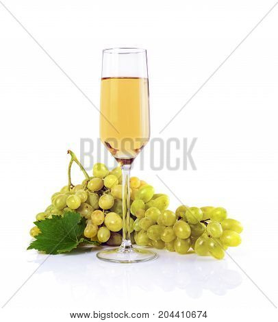 Healthy Food. Close-up View Bunch Of Grape With Glass Of White Wine