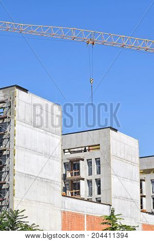 Construction of new apartment buildings in the city