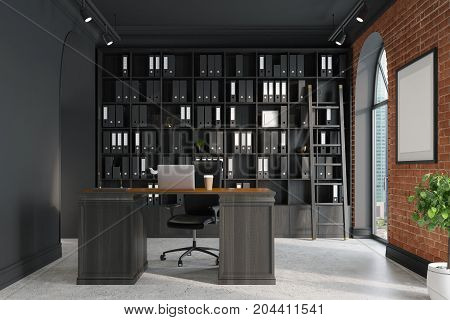 CEO office bookcase and table ladder, close up.