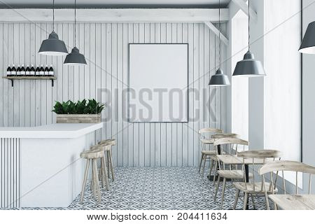 White Wooden Bar, White Stand And Tables