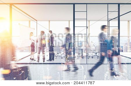 Business people in a glass conference room of a modern office building with panoramic windows. 3d rendering toned image double exposure