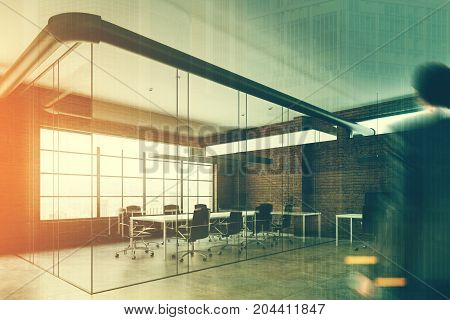 Brick And Glass Open Space Office, Man