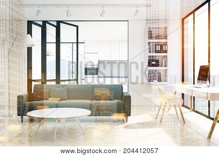 White Living Room Interior, Bookcase, Double