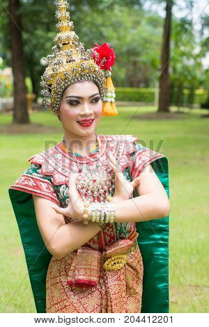 Thai traditional dress. Actors performs Thai ancient dancing Art of Khon-Thai classical masked ballet in Thailand