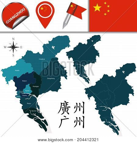 Vector map of Guangzhou with named divisions and travel icons. There are chinese characters in a set - it means Guangzhou poster