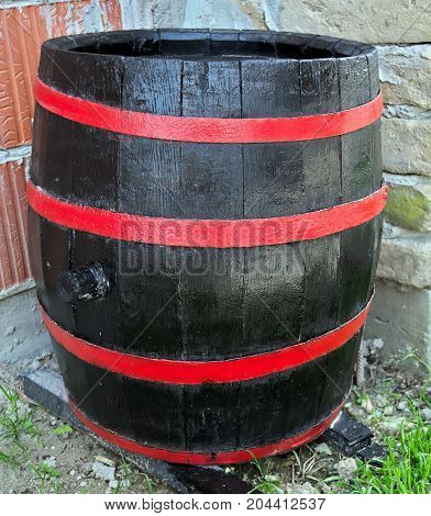 Old restaruated wooden barrel with new look