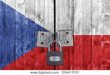 Czech Republic flag on door with padlock