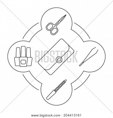 Woman's clutch contents linear icons set. Nail polish bottles, manicure pincers and scissors, nail file. Isolated vector illustrations