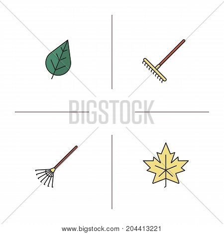 Autumn color icons set. Rakes, leaves. Isolated vector illustrations
