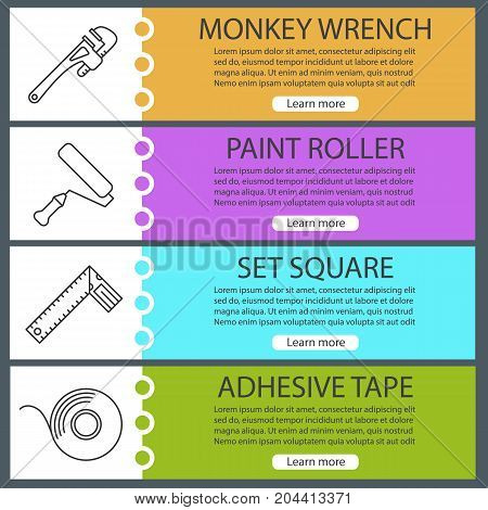 Construction tools web banner templates set. Monkey wrench, paint roller, set square, adhesive tape. Website color menu items with linear icons. Vector headers design concepts