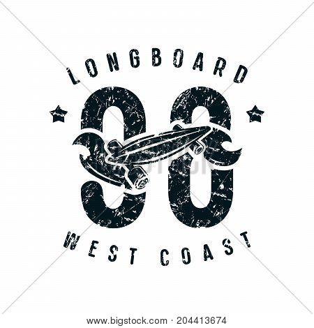 Emblem Of Longboard Club In Retro Style