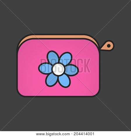 Cosmetic bag color icon. Purse with flower. Women accessory. Isolated vector illustration