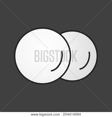 Cotton pads, discs color icon. Toiletries. Personal hygienic care products. Sponge. Isolated vector illustration
