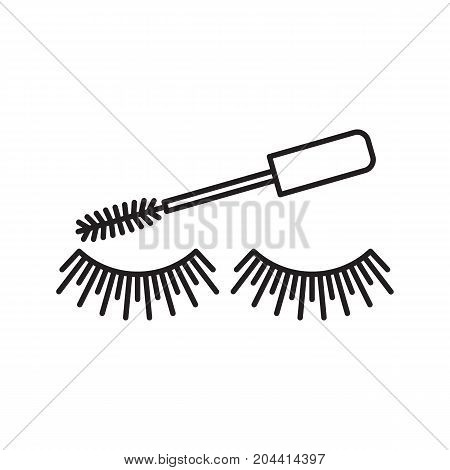 Eye mascara linear icon. Cosmetic. Women goods. Eyelashes. Thin line illustration. Makeup. Contour symbol. Vector isolated outline drawing