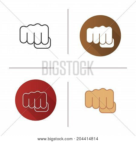 Punch icon. Flat design, linear and color styles. Squeezed fist. Isolated vector illustrations