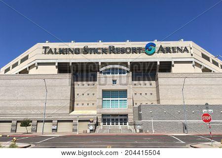 PHOENIX AZ USA - SEPTEMBER 15 2017: Talking Stick Resort Arena South entrance, Phoenix downtown Arizona.