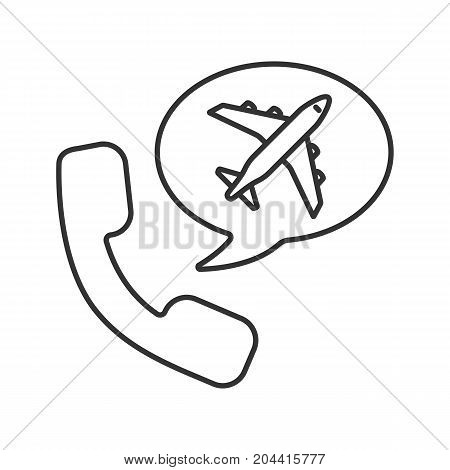 Plane tickets order by phone linear icon. Thin line illustration. Handset with airplane inside chat box. Call to travel agency. Contour symbol. Vector isolated outline drawing