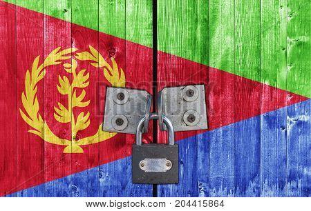 Eritrea flag on door with padlock close