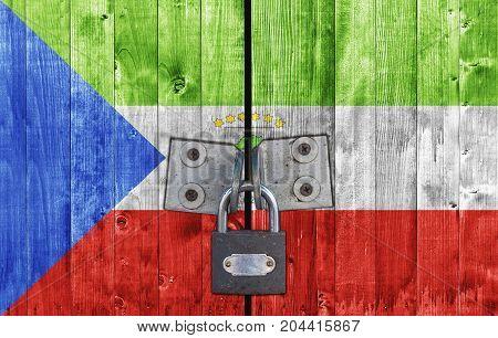 Equatorial Guinea flag on door with padlock