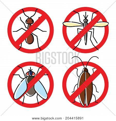 No insects flat icons set. Insecticide symbols.