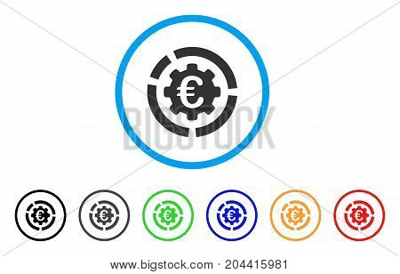 Euro Diagram Configuration icon. Vector illustration style is a flat iconic euro diagram configuration gray rounded symbol inside light blue circle with black, gray, green, blue, red,