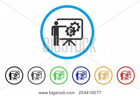 Euro Industrial Project Presentation icon. Vector illustration style is a flat iconic euro industrial project presentation grey rounded symbol inside light blue circle with black, gray, green, blue,