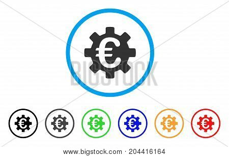 Euro Machinery Gear icon. Vector illustration style is a flat iconic euro machinery gear gray rounded symbol inside light blue circle with black, gray, green, blue, red, orange color versions.