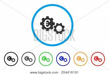 Euro Mechanics icon. Vector illustration style is a flat iconic euro mechanics gray rounded symbol inside light blue circle with black, gray, green, blue, red, orange color additional versions.