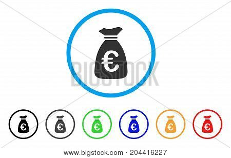Euro Money Bag icon. Vector illustration style is a flat iconic euro money bag grey rounded symbol inside light blue circle with black, gray, green, blue, red, orange color versions.