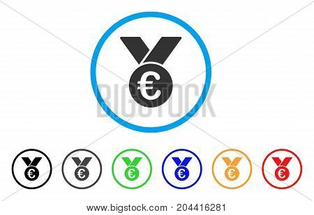 Euro Prize Medal icon. Vector illustration style is a flat iconic euro prize medal grey rounded symbol inside light blue circle with black, gray, green, blue, red, orange color variants.