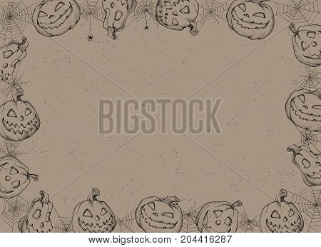 Halloween Poster - Illustration. Vector illustration of Halloween Background with pumpkins and web.