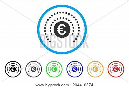 Euro Shield Sphere icon. Vector illustration style is a flat iconic euro shield sphere grey rounded symbol inside light blue circle with black, gray, green, blue, red, orange color variants.