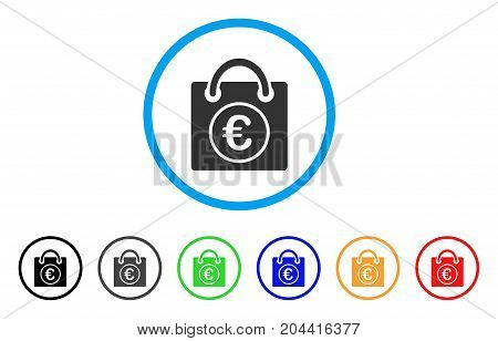 Euro Shopping Bag icon. Vector illustration style is a flat iconic euro shopping bag gray rounded symbol inside light blue circle with black, gray, green, blue, red, orange color additional versions.