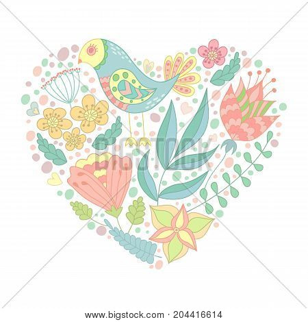 Doodle bird and floral elements in heart shape. Vector illustration. Happy Valentine's day.